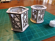 Candle Holder Lantern Lines Laser Cut DXF File