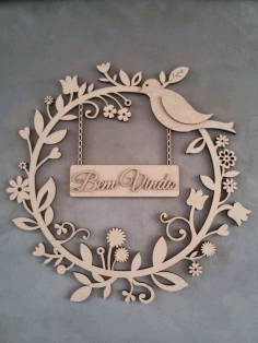 Car Decorative Plywood Wreath Bird Flowers Laser Cut Free CDR File