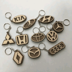 Car Logo Keychains Wooden Car Key Rings Laser Cut CDR File