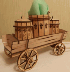Cart Salt And Pepper Shaker Holder Stand With Napkin Holder Laser Cut Design CDR File