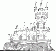 Castle Vector line drawing vector art Laser Cut CDR File