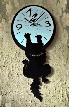 Cat Climb on Clock Template CDR File