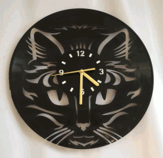 Cat Clock CNC Laser Cutting Free CDR File