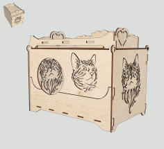 Cat House Laser Cutting Template Laser Cut CDR File