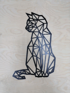 Cat Polygon Art Wall Decoration 3D Sculpture Art Laser Cut DXF File
