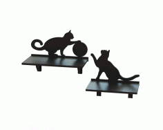 Cat Shelf CNC Laser Cutting Free CDR Vectors File