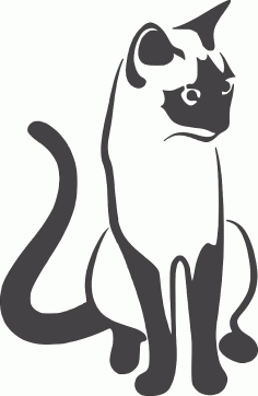Cat Sitting 2 DXF File DXF Vectors File