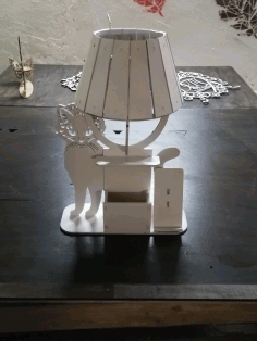 Cat Table Lamp with Organizer Laser Cut DXF File