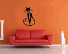 Cat Wall Clock Laser Cut Free CDR File