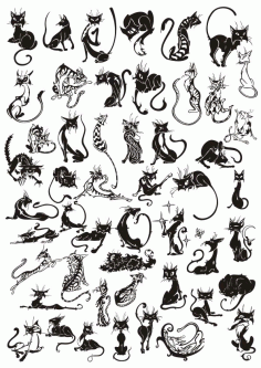 Cats Vector Set Free CDR Vectors File