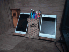 Cell Phone Stand Pencil Holder Organizer Laser Cut Free CDR File