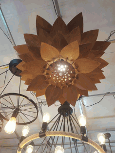 Chandelier Lotus Pendant Lamp Laser Cut Template DXF File