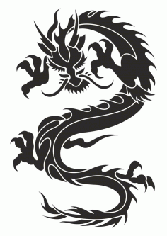 Chinese Dragon Silhouette Tattoo Tribal Vector Free CDR Vectors File
