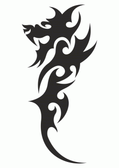 Chinese Tribal Dragon Tattoo Vector Free CDR Vectors File