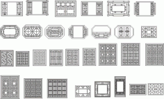 Chinese window grilles Free Vector CDR File