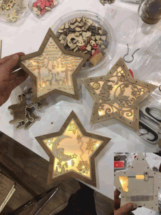 Christmas Decoration Nightlight Star CNC Laser Cut Template Vector CDR File