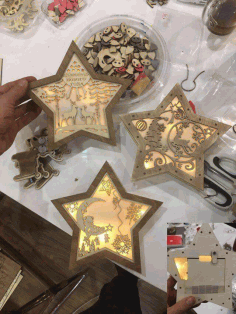 Christmas Decoration Nightlight Star Laser Cut Design CDR File