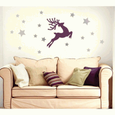 Christmas Deer Wall Sticker Vector Free CDR File