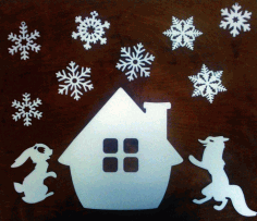 Christmas Elements Design Hare Fox Snow Flakes Laser Cut CDR File
