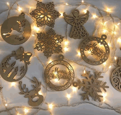 Christmas Hanging Pendants Drop Ornaments Laser Cut Design CDR File