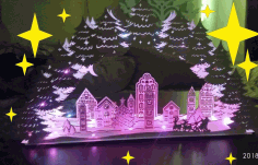 Christmas Night Light Decor Christmas Village Lamp Laser Cut CDR File