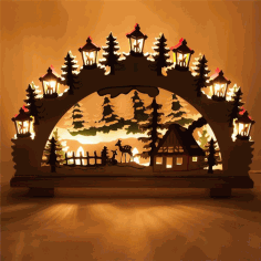 Christmas Ornaments Lamp Night Scene Wooden Window Light Laser Cut CDR File