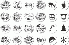 Christmas Stickers Set Download Free Vector CDR File