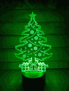 Christmas Tree 3D Illusion Lamp CNC Laser Cutting Template Free DXF File