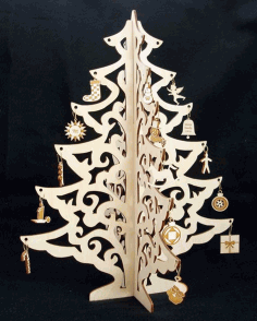 Christmas Tree Jewelry Didplay Wood Crafts CNC Laser Cut Free CDR File