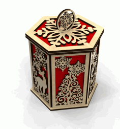 Christmas Wooden Decorative Gift Box CDR File