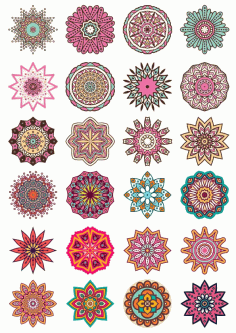 Classic Colorful Mandala Design CDR File