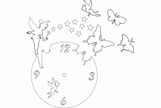 Clock Butterfly Fairy Free Dxf File For Cnc DXF Vectors File