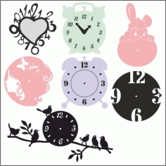Clock Templates Laser Cut DXF File