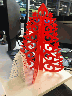 CNC Laser Cut Acrylic Christmas Tree Template Free DXF File