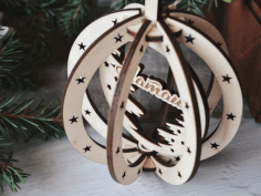 CNC Laser Cut Birch Pendant Christmas Tree Hanging Wooden Decorations Free CDR File