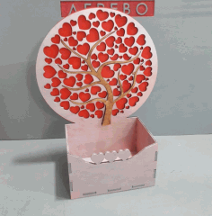 CNC Laser Cut Box with Hearts Tree Free CDR File