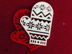 CNC Laser Cut Christmas Mitten Christmas Toys Figurines Free CDR File