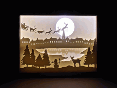 CNC Laser Cut Christmas Shadow Box Night Light Paper Cut Free CDR File