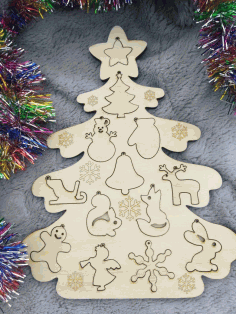 CNC Laser Cut Christmas Tree Decor Templates Vector CDR File
