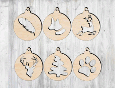 CNC Laser Cut Christmas Tree Decorations Free CDR File