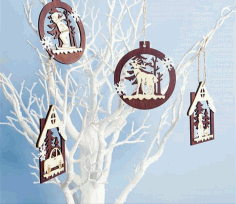 CNC Laser Cut Christmas Tree Ornaments Vector CDR File