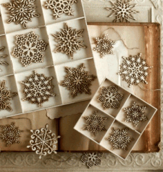 CNC Laser Cut Christmas Tree Snowflakes Free CDR File