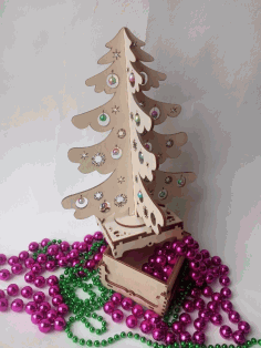 CNC Laser Cut Christmas Tree Surprise Vector CDR File