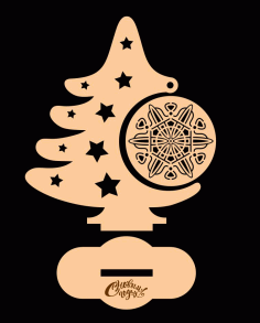CNC Laser Cut Christmas Tree with Ornament Vector CDR File