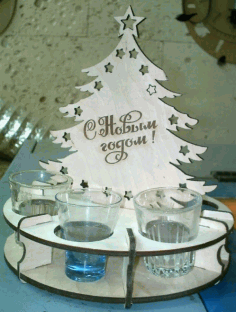 CNC Laser Cut Christmas Tree with Wineglasses 4mm Free CDR File