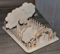 CNC Laser Cut Cottage Farm Fence Trees Animals Free CDR File