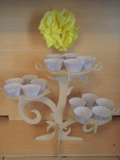 CNC Laser Cut Cupcake Stand like Tree Branches Free CDR File