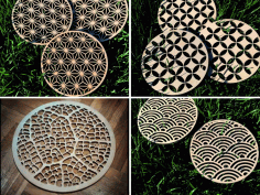 CNC Laser Cut Decorative Coasters CDR File