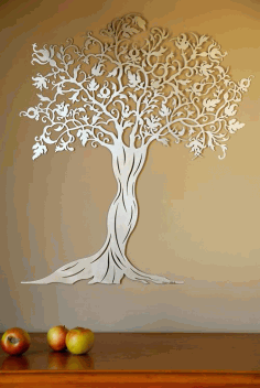 CNC Laser Cut Decorative Wall Tree Free CDR File