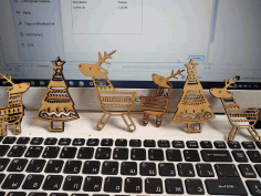 CNC Laser Cut Deer Christmas Tree Ornaments Free CDR File